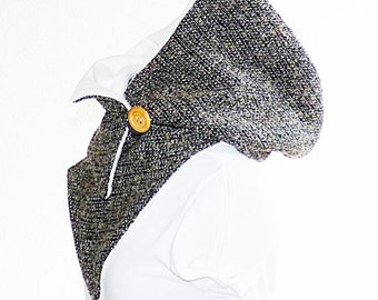 Hooded Scarf with fleece, brown-cream heather