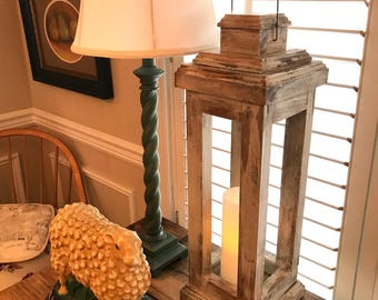 Rustic, Farmhouse Style Wood Lantern - Candleholder