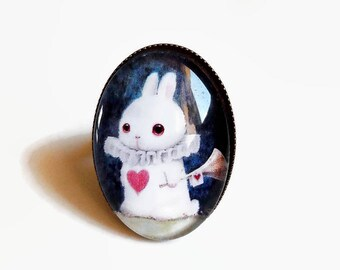 ring, white rabbit Alice, alice in Wonderland heart blue white red trumpet, cabochon