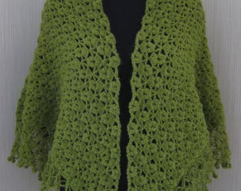 Shaw lKnit Crochet Olive Green Wool Knit Hand made Triangular Wrap Women's Gift Ready to ship gift Mother's Day