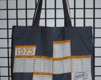 calendar vintage 1975 lined multicolored cotton denim tote bag