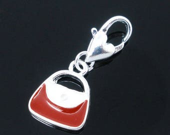 1 pendant 26 * 12 mm red white purse charm