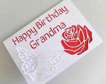 Personalised Card Grandma, Birthday Card Grandma, Handmade Card Nanna, Personalised Card with Flower, Personalised Card with Butterfly