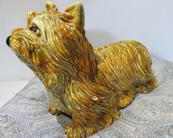 Hollywood Regency Glazed Signed Italian Terracotta Llasa-Apso Dog.