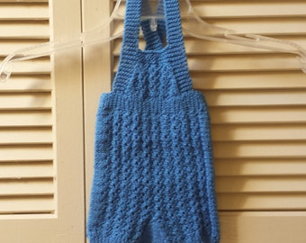 Baby Size 0 to 3 Months Knitted Overalls / Denim Blue Infant / Newborn/ Handmade Children Clothing
