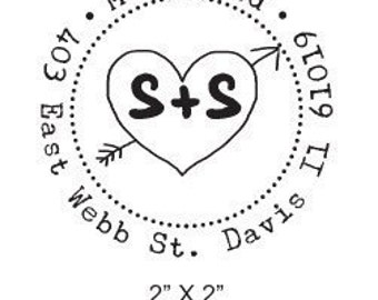 Heart with Arrow and Initials Custom Return Address Rubber Stamp AD111