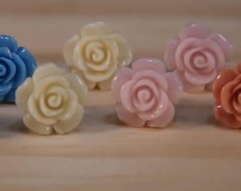 Resin Flower Stud Earrings// Pink Rose Earrings// Rose Earrings// 5 Resin Studs// Five Rose Studs// Flower Earrings// Funky Earrings