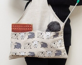 Knitter Project Bag SHEEP. Special KnitterBag design.