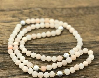 Pink Aventurine Necklace, Beaded Necklace, Pink Necklace, Howlite Necklace, Pink Bead Necklace, Beaded Necklace Handmade, Beaded Necklace
