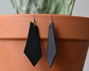 Lopsided Earrings, Black Leather Earrings, handmade from upcycled leather