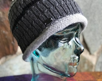 Beanie, Hand Knit Beanie, Gray Beanie, Men, Women, Knit Hat, Skull Cap, Stylish Beanie, Rolled Brim Beanie, Gift, MADE TO ORDER