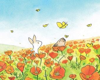 Flower Postcard - Greeting card - Orange Poppyfield, Rabbits & Butterflies -