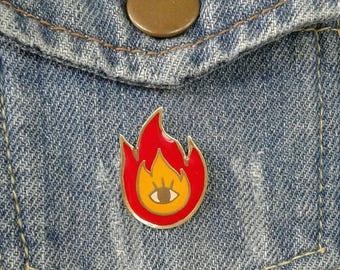 Eye on fire Hard Enamel Pin, Brooch, Original design