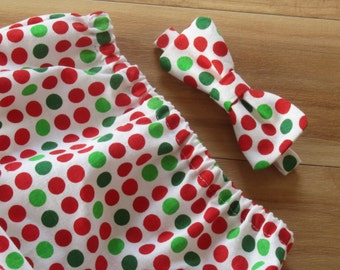 CLEARANCE! 0-6 Months Baby Christmas Clothing, Christmas Photo Outfit, Baby Boy Christmas Picture Prop, Red and Green Polka Dot