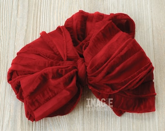 Messy Ruffle Bow Headband - Deep Red