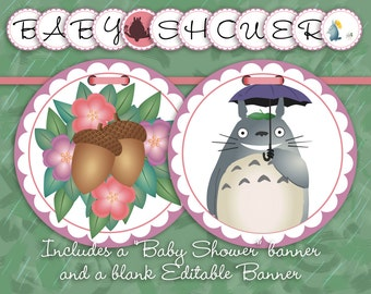"""Editable My Neighbor Totoro Banner    Baby or Bridal Shower, Birthday Party    Customize Yourself in Adobe Reader    5.5"""" Circles"""