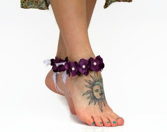 Purple Hydrangea Flower Anklet with or without Feathers - Pearl Center, Hemp anklet, Wedding, honeymoon, beach ankle jewelry, bride anklet