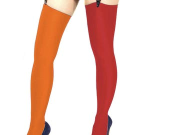 Two tone spandex stockings red orange