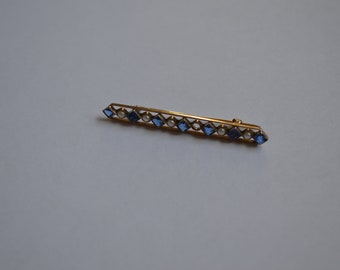 Antique Victorian 10K Yellow Gold Bar Pin---Pearls & Blue Stones---From 1910