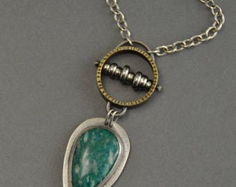 Amazonite Abacus Pendant, sterling silver, mixed metal, industrial, oxidized, steampunk, metalwork, brass, teal green, steam punk jewelry