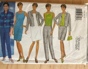 Butterick 4553 - Fashion Essentials Sheath Dress, Sleeveless Top, Button Front Jacket, Straight Skirt, and Pants - Size 6 8 10 12