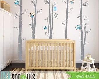 Birch with owls Decal Large set,5 Birch decal, birch tree set, Birch forest, owl, Modern Nursery, Nursery decals, Baby Decals