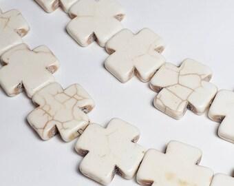 6pcs Stone Cross Beads - Howlite Stone (Grade D) - Cream Beads - Boho Beads - Hippie Beads - Bohemian Beads 18mm Beads - B75803