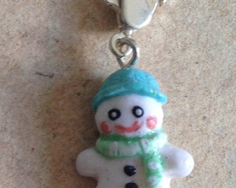 Charm Snowman with scarf, mint green