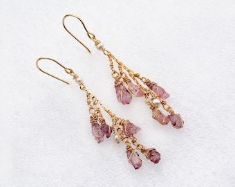 Amethyst Cluster Earrings Gold Filled Earrings Stone Earrings+ Pearls Long Purple Earrings Uncut Extreme Amethyst Free Shipping from Israel