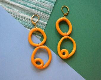 Twisted Multi Hoop Statement Earrings Organic Shaped / Yellow