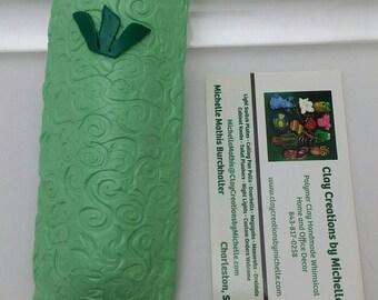 Mezuzah Green Pastel Texture Swirled  (#120)