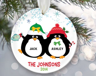 Personalized Family Christmas Ornament Christmas Gift Penguins couple Penguin Ornament Mr & Mrs Ornament Custom Ornament Holiday Gift OR221