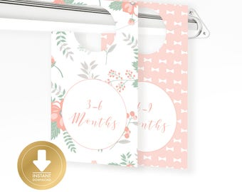 INSTANT DOWLOAD - Classic Pink Baby Closet Dividers - Baby Clothes Divider - Baby Organizer - Baby Shower Gift