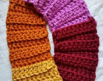 READY TO SHIP Handmade Chunky Crochet Color Block Scarf