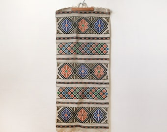 Colorful Vintage Rug - Geometric Rug or Table Runner - Handwoven Global Rug