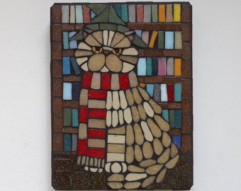 Crookshanks, Mosaic Wall Art, Mosaic Pet Portrait, Hermione's Cat, Original Artwork Inspired by Harry Potter, Fan Art (8x6 inches)
