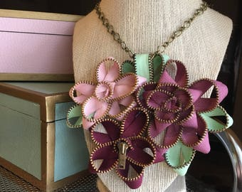 Vintage Handmade Zipper Flower Necklace