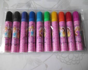 x 1 bag of 10 mixed pattern Princess markers