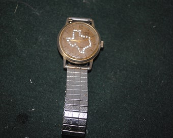 Texas Lone Star Wrist Watch with Outline of Texas on Front