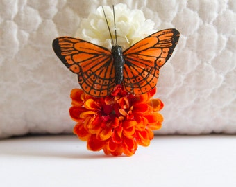 Orange Creamsicle Pom Pom Hair Flower Clip with Orange Monarch Butterfly // Quality Hair Care Product // Luxury Hair Styling Accessory