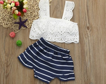 Baby Girl Lace sleeveless top with Striped bottoms 2 pc set