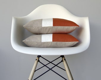 Rust & Cream Color Block Pillow (Set of 2) Modern Home Decor by JillianReneDecor   Minimal   Linen Colorblock Pillow   Fall