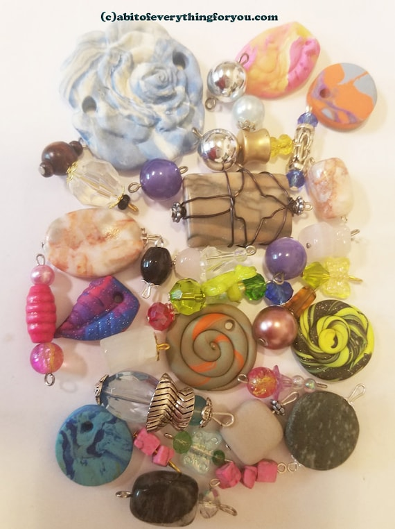 35 beads drops charms pendants mixed lot clay stone glass acrylic jewelry lot