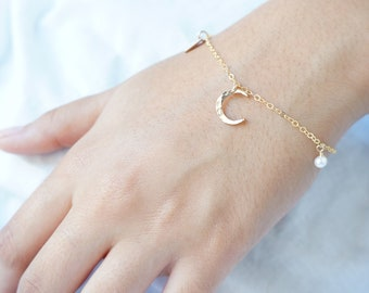 Moon Personalized Bracelet Custom Bridesmaid Gift Initial Bracelet Mothers Day Gift Personalized Gift Gold Filled Rose Gold Charm Bracelet