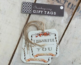 Thanksgiving Gift Tag - 4-Pack Hostess Gift Vintage-look Chalkboard & Cream Tags with Twine