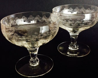 Vintage/Antique Crystal Tiffin Franciscan Low Champagne Sherbet 2 Pair Stem Glass