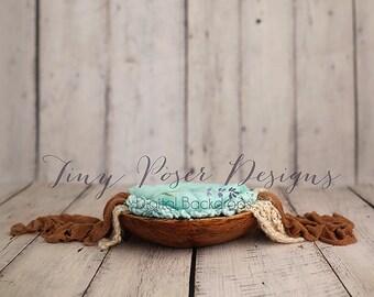 Newborn Photography Digital Backdrop Rustic Bowl - Aqua
