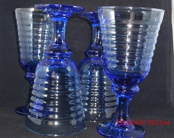 Cobalt Blue Glass Goblets (Set of 4)