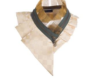 Collar necklace, unique accessory, zipper collar, silk collar, only one piece #193