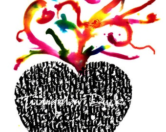Colorful Heart in Calligraphy- Signed Limited Edition, Giclèe Print, Series of 3